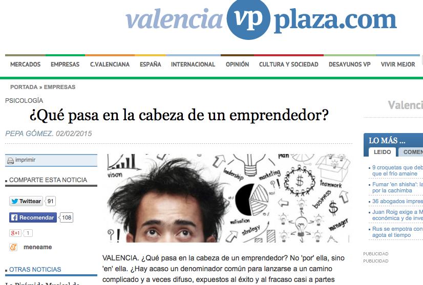 Artículo emprendedores psicología Valencia Plaza